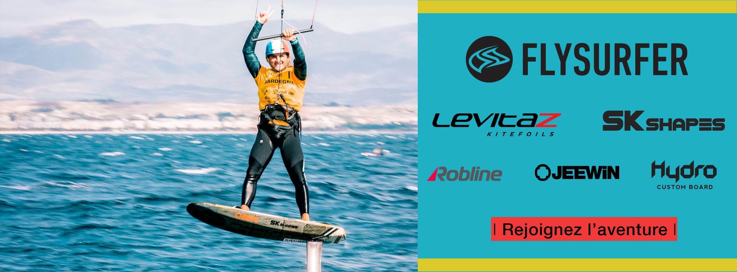 Theo de Ramecourt partenaires et sponsors Flysurfer Levitaz SK shapes Robline Jeewin Hydro